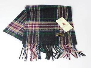 Superior 100% Lambswool Soft Touch Scarf in Grey, Purple, Camel and Green Tartan