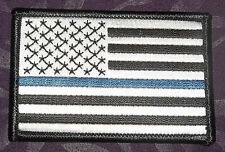 THIN BLUE LINE PATCH BLK/GRY U.S. FLAG POLICE SEW/IRON DIY