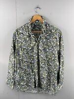 Alan Flusser Men's Long Sleeve Floral Hawaiian Shirt Size M Green Blue Floral