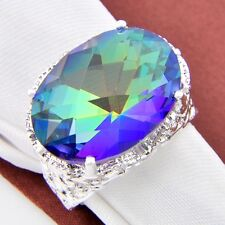 Gorgeous Shiny Super Huge Rainbow Blue Mystic Topaz Silver Ring US Size 7 8 9