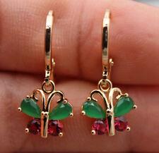 18K Yellow Gold Filled - Butterfly Emerald Jade Ruby Topaz Zircon Women Earrings