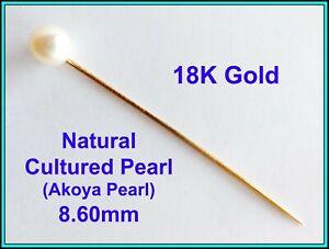 18k Rose GOLD & Cultured Akoya Pearl 8.60mm - Hat Stick, Pin, Tie Pin, Lapel Pin