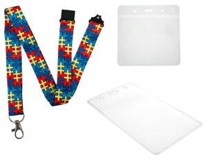 20mm Autism Awareness Jigsaw Puzzle Lanyard & Plastic Flexible ID Wallet