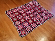 "Vintage Hand Knit Crochet Granny Square Multi Color Afghan Blanket 48"" x 40"""