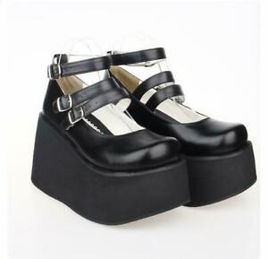 Womens Lolita Wedge Heel Shoes Platform Creeper Pumps Buckle Mary Jane New Black