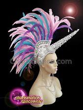 163a6335339 CHARISMATICO Fantasy silver beaded feathered unicorn diva headdress