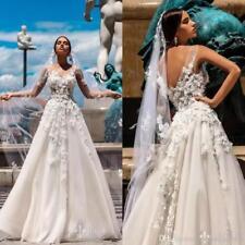 Glamorous Spring 3D Floral A Line Wedding Dresses Floor Length Beach Bridal