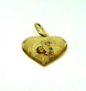 9ct Yellow Gold Heart Shaped St Christopher Pendant with Laser Etch Detail