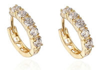 18 k Gold Plated Earrings for Small Girls or Women White Zircons Hoops  E715
