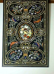 Black Marble Dining Table Top Pietra Dura Art Conference table top for Office