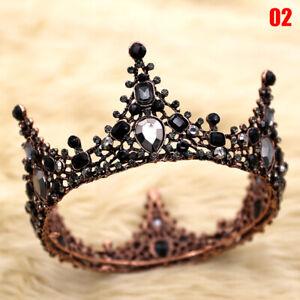 Fashion Black Bride Wedding Crown Shiny Glamour Vintage Baroque Prom Queen Crown