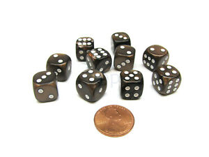 Pack of 10 Deluxe Round Edge Small 12mm Marble D6 Dice - Brown