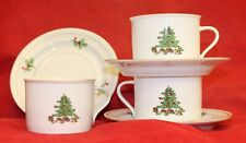 HOLIDAY HOSTESS Tienshan w/ Gold Band Christmas Tree 3 Cups and Saucers