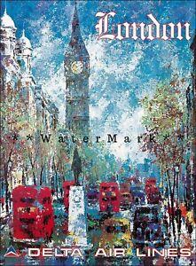 London England Travel Delta Air 1970 Big Ben Vintage Poster Print Art