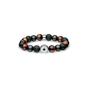 BERING Ceramic Steel Bracelet with Red Tiger Eye and Lava Beads. 631-641-200