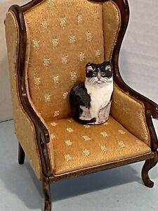 Vintage Artisan MARY HOOT Velvet Hand Painted Cat Dollhouse Miniature 1:12