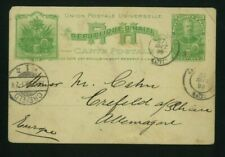 Haiti 1899 3c Postal Card from Cap Haitien to Crefeld, Germany H&G 3
