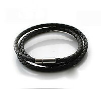 High Quality Mens Womens PU Leather Cord Necklace Twist Chain Stainless OZ