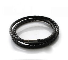 High Quality Mens Womens PU Leather Cord Necklace Twist Chain Stainless
