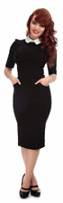 Collectif 50s Vintage Style Winona Black Pencil Dress