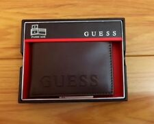New GUESS Men's Wallet Brown Genuine Leather Passcase Double Billfold