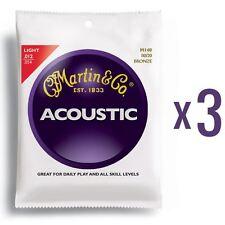 3 sets Martin 80/20 bronze acoustic guitare strings-light gauge .012 - .054