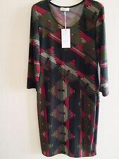 Kleid, Fifilles, schwarz/rot/beige gemustert, Jersey, Gr. 38, neu mit Etikett