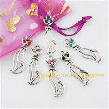 6 New Charms Animal Cat Mixed Crystal Tibetan Silver Tone Pendants 12x34mm