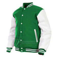 Handmade Varsity College School Baseball Jacket Wool & Real Leather Sleeves
