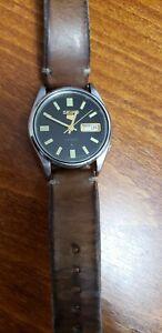 Vintage SEIKO 5 Men's Japan Automatic Watch 6309-5130 Genuine Leather Strap
