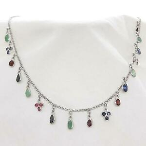 World Class .85ctw Emerald, Ruby & Sapphire 925 Sterling Silver Necklace 8g
