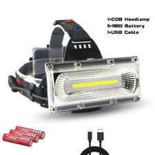 Ultra Bright COB Work Sport LED Headlamp Rechargeable 3 Modes Headlight 18650