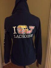 Vineyard Vines Women's Lacrosse Whale Print Long Sleeve Hoodie T-Shirt, Xsmall