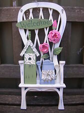 SHABBY COUNTRY WOODEN CHAIR WELCOME PLAQUE SIGN
