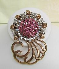 Vintage Pennino Sterling Silver Rose Gold Wash Pink&Rhinestone Pin Brooch