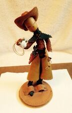 "Vintage 1940s Cowboy Figurine Leather Complete W/Original Base 8"" Tall"