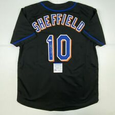 Autographed/Signed GARY SHEFFIELD New York Black Baseball Jersey PSA/DNA COA