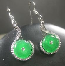 Gold Plate Green JADE Earring Earrings Dangle Circle Diamond Imitation 267044 US