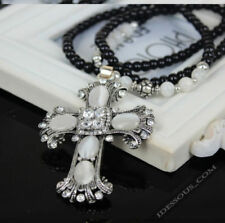 Modeschmuck-Halsketten Kreuz-Perlen