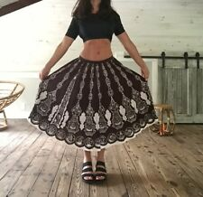 VTG 40s 50s 60s NOVELTY Floral Circle Lucy PINUP Rockabilly Full Swing SKIRT