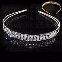 3 Row Diamante Crystal Hair Head Band Party Bridesmaid Tiara Prom Alice Headband