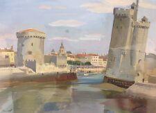 John BARTLETT actif XXè.Le port de La Rochelle.1950.Gouache.SBG. 22x29.Cadre