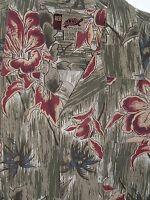 Vintage Hawaiian Shirt Sz L Men's RED TURTLE Floral Aloha Beach Camp