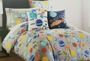 4 pc Boy Zone Exploring Space Twin Comforter, Sham & Decorative Pillows Set NIP