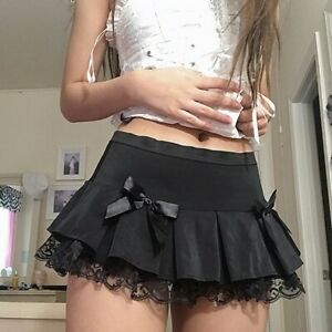 Black Girl Mini Streetwear Low Waist Pleated Bowknot Lace Trim Women Dance Skirt