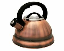 Copper Finish Stainless Steel 3-quart qt 2.8 Liter Whistling Tea Kettle Capsule
