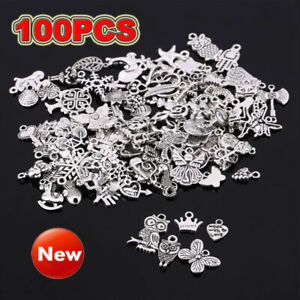 100Pcs Mixed Silver Charms Pendants for DIY Unique Crafts Jewelry Making Decor