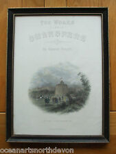 ANTIQUE PRINT C1800'S THE WORKS OF SHAKESPEARE THE GLOBE THEATRE BANKSIDE 1593