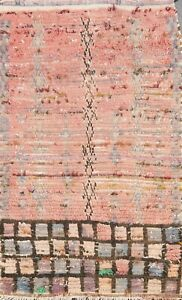 Antique Geometric Oriental Moroccan Area Rug Wool Hand-knotted 2x4 Tribal Carpet