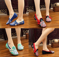 Chinese Womens Embroidered Flat Shoes Floral Mary Jane Folk Cloth Shoes Handmade